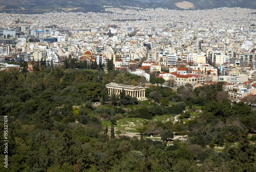 The temple of Thisseio or temple of Hephaestus as seen from Acropolis of Athens, Greece Wallpaper Mural