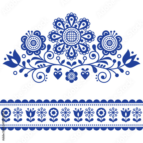 Scandinavian vector folk art pattern with flowers, traditional floral frame or b Slika na platnu