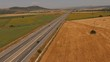 Aerial Shot Highway Speed Transport Countryside