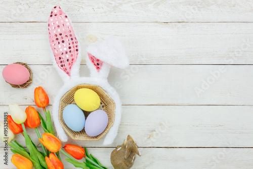 Top View Aerial Image Of Decoration Symbol Happy Easter Holiday Background ConceptFlat Lay