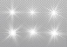 Star On A Transparent Background,light Effect,vector Illustration. Burst With Sparkles.