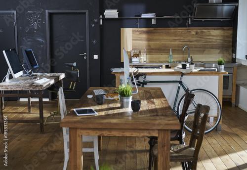 Modern office interior with kitchen