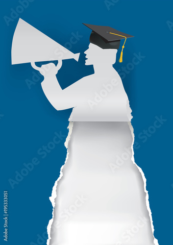 graduate with megaphone illustration of paper silhouette with