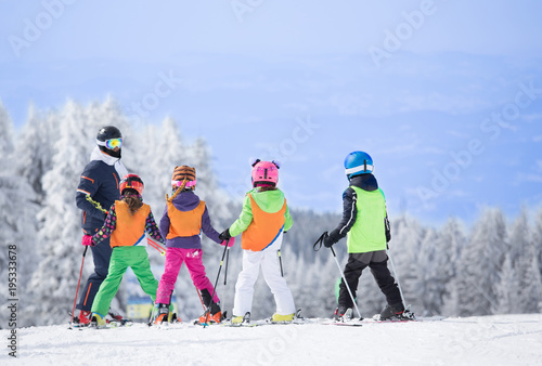 plakat Ski school on mountain peak