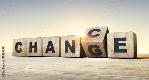 Fotografie, Obraz  Holzwürfel Motiv Change - Chance