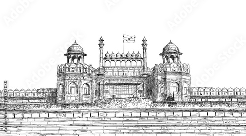 Fotografie, Obraz  Red Fort, New Delhi, India - Detailed Vector Sketch Illustration
