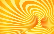 Orange Color Striped Swirl - Vector Optical Illusion