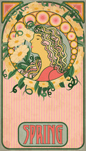 Spring Girl, Floral Banner In Art Nouveau Style, Vector Illustration