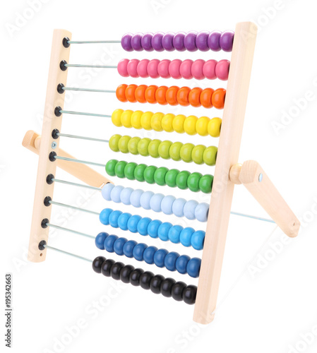 Side abacus for child learning on white background. - 195342663