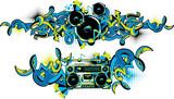 Fototapeta Młodzieżowe - Boom box and loudspeakers in graffiti style