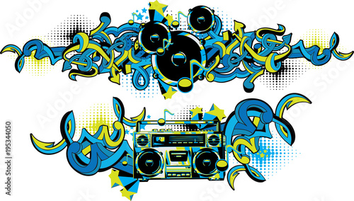 Foto op Aluminium Graffiti Boom box and loudspeakers in graffiti style