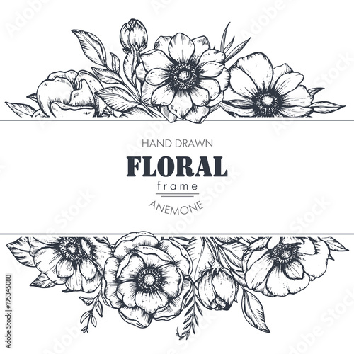 Vector floral frame with bouquets of hand drawn anemone flowers Wallpaper Mural