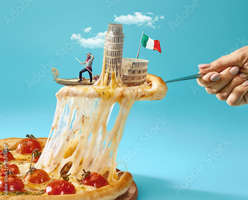 Valokuva The collage about Italy with female hand, gondolier, pizza and and major sights