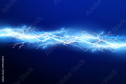 Fototapeta A set of lightning Magic and bright light effects. Vector illustration. Discharge electric current. Charge current. Natural phenomena. Energy effect illustration. Bright light flare and sparks obraz
