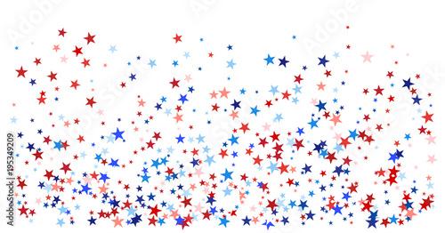 USA, UK, Australia State Symbols and Flag Coloured Star Confetti Canvas Print