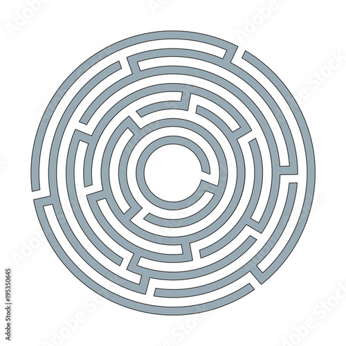 Abstract circular maze labyrinth with an entry and an exit A flat illustration on a white background A puzzle for logical thinking finding an exit solving in a game form Isolated Vector graphics Wall mural