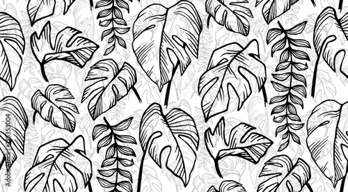 Black And White Hand Drawn Tropical Leaves Vector Seamless Pattern Buy This Stock Vector And Explore Similar Vectors At Adobe Stock Adobe Stock Tropical monstera palm beach leaves flat style design elements. black and white hand drawn tropical