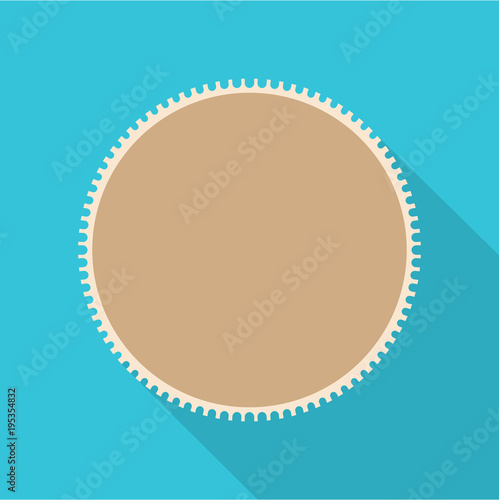 Garden Poster White Round postage stamp icon. Flat illustration of round postage stamp vector icon for web