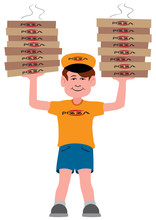 A Young Pizza Delivery Guy Has Just Arrived With Two Large Stacks Of Pizza