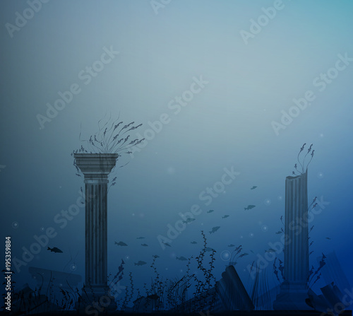 underwater landscape with ancient ruins of columns, fishes, alga and bubbles, se Wallpaper Mural