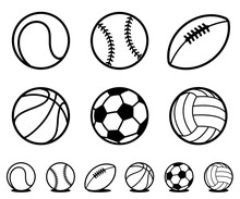 Set Of Black And White Cartoon Sports Ball Icons