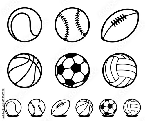 Canvas-taulu Set of black and white cartoon sports ball icons