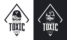 Rider In Helmet And Gas Mask Black And White Isolated Vector Logo. Premium Quality Toxic Chemical Zone Logotype T-shirt Emblem Illustration.