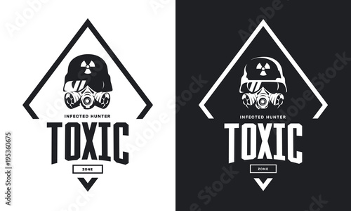 Rider in helmet and gas mask black and white isolated vector logo Fotobehang
