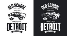 Vintage Hot Rod Vehicle Black And White Isolated Vector Logo.  Premium Quality Old Sport Car Logotype T-shirt Emblem Illustration. Detroit, Michigan Street Wear Hipster Retro Tee Print Design.