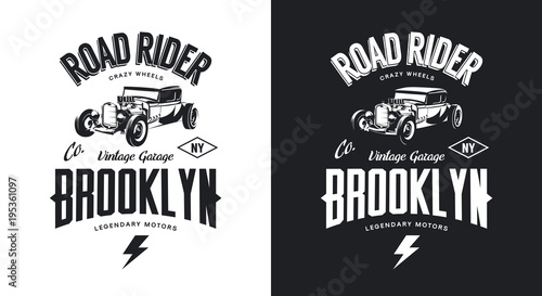 Photo Vintage hot rod black and white tee-shirt isolated vector logo