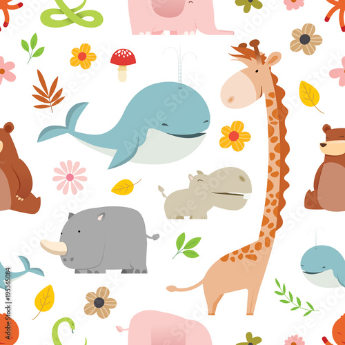 creative-cute-wild-animals-vector-pattern