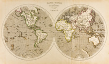 Antique World Map In Two Hemis...