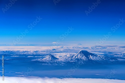 Foto op Canvas Donkerblauw Aerial view of Mount Ararat