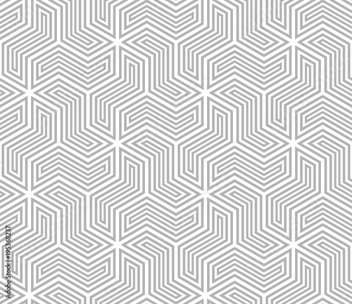 Fototapety, obrazy: Abstract geometric pattern with stripes, lines. A seamless vector background. White and grey ornament.