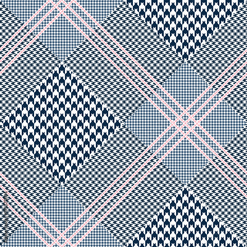 Seamless glen plaid pattern in navy blue and white with triple pink overcheck Wallpaper Mural