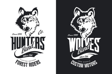 Vintage wolf custom motors club t-shirt black and white vector logo. Premium quality bikers band logotype tee-shirt emblem illustration. Wild animal mascot street wear retro tee print design.