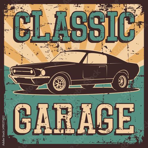 Ilustracja wektorowa z wizerunkiem starego klasycznego samochodu, logo projektu, plakaty, banery, oznakowanie.