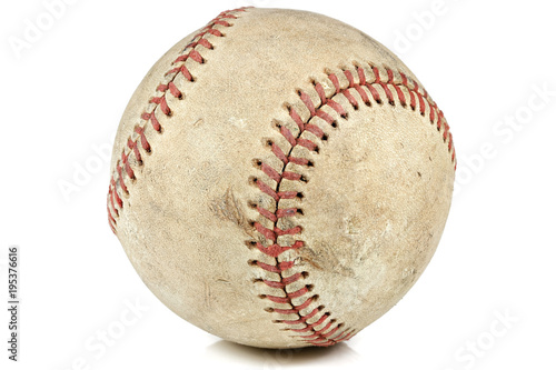 worn baseball isolated on white background