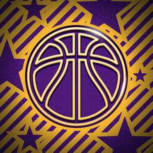 Modern Gold And Purple Basketb...