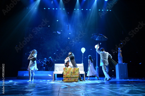 Young actors and Actresses dance on the stage of the theater Wallpaper Mural
