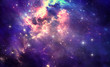 canvas print picture - Deep space nebula with stars