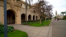 Orbiting Around The Baroque Architecture Of San Diego's Balboa Park Buildings.
