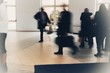 abstract crowd of anonymous blurred people walking in a shopping mall