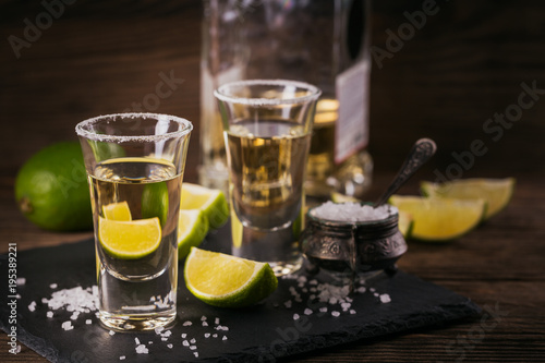Canvas Prints Bar Tequila shot with lime and sea salt