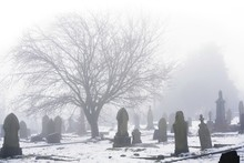 Cemetery In Fog, Gravestones And A Silhouetted Tree Are Seen Darkly Against A Background Of White Mist And Snow.