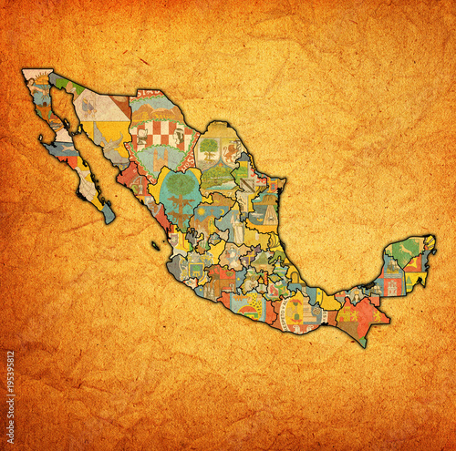 administration map of Mexico with region flags Wallpaper Mural