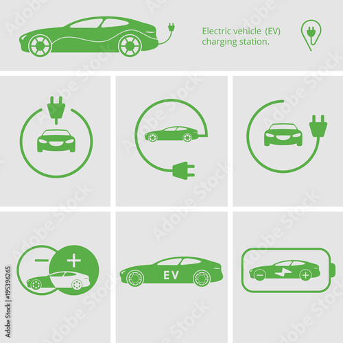 Vector Icons Pin Point Electric Vehicle Charging Station Isolated