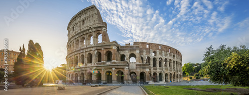 Colosseum in Rome with morning sun Canvas Print