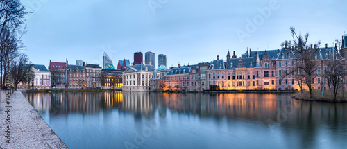 City Landscape, sunset panorama - view on pond Hofvijver and complex of building Canvas Print