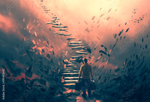 Photo  Illustration of a man and dangerous stairs